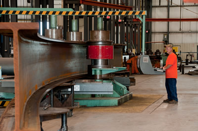 A sectional rolling machine rolling a steel i-beam