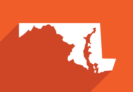 The geographical outline shape of the state of Maryland